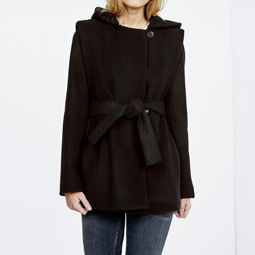 Wool coat with hood : Coats color Black 210