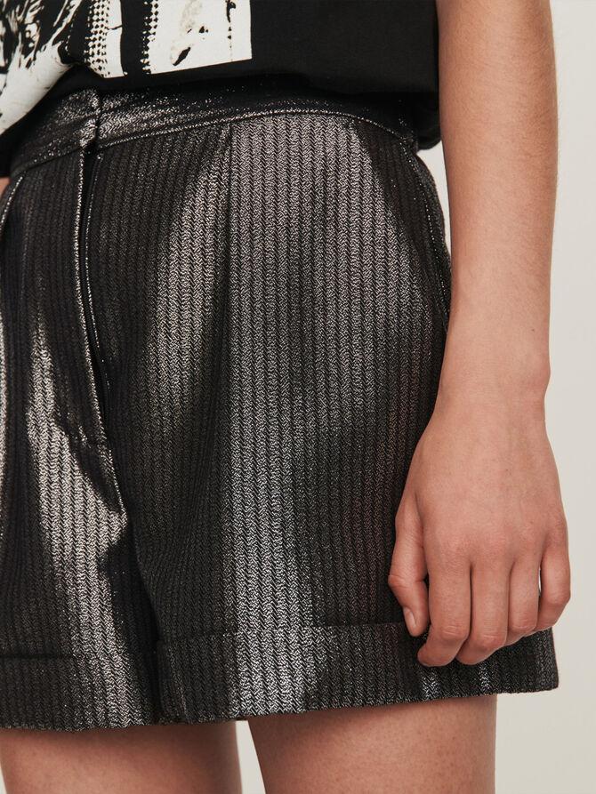 Cuffed shorts in Lurex -  - MAJE