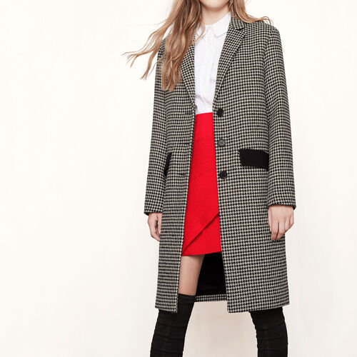Houndstooth check coat : Coats color Jacquard