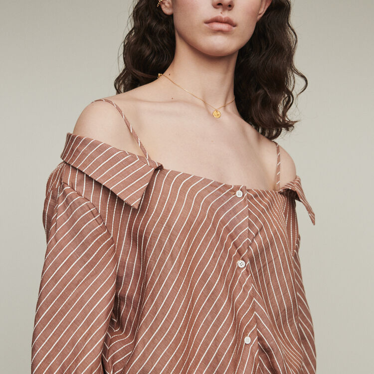 Striped shirt dress with bare shoulders : Dresses color Terracota