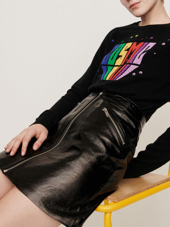 Zipped vinyl-style leather skirt - Presoldes-50_BE - MAJE