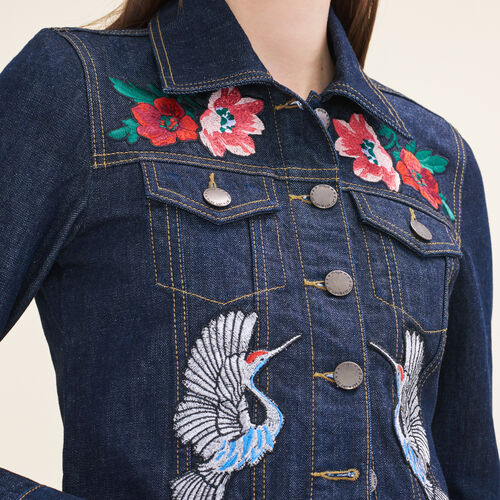 Denim jacket with embroidered crests : Blazers & Jackets color Denim