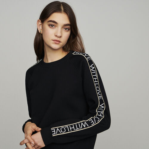 """Sweat """"With Love"""" on sleeves : Pullovers & Cardigans color Black 210"""