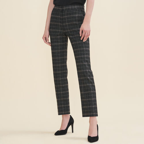 Tartan cigarette trousers : Trousers color Jacquard