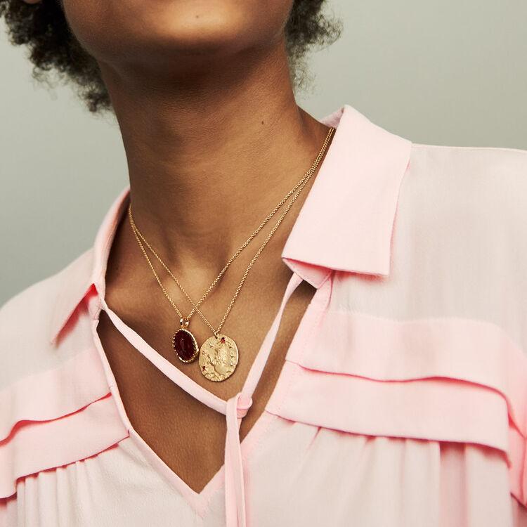 Shirt collar blouse : Tops color PURPLE