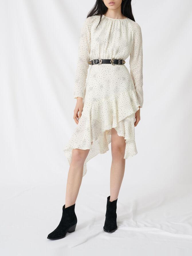 Floaty, asymmetric star-print dress - Dresses - MAJE