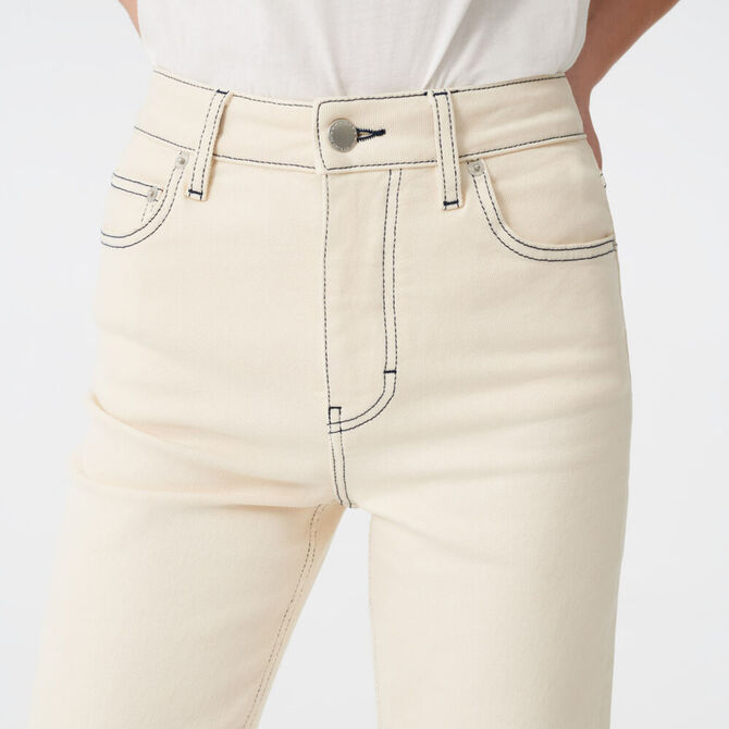 Straight leg jeans with topstitching -  - MAJE