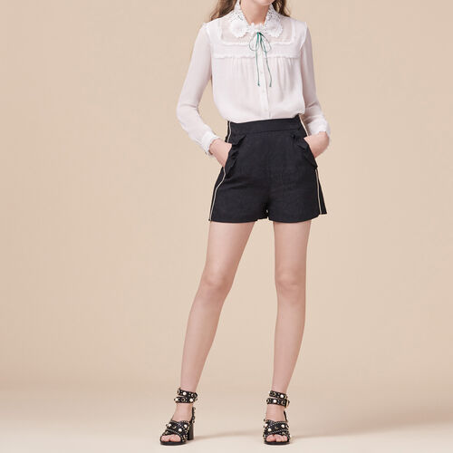 Shorts with brocade print : Skirts & Shorts color Black 210