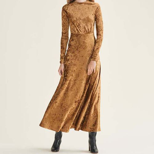 Long velvet dress : Dresses color GOLD