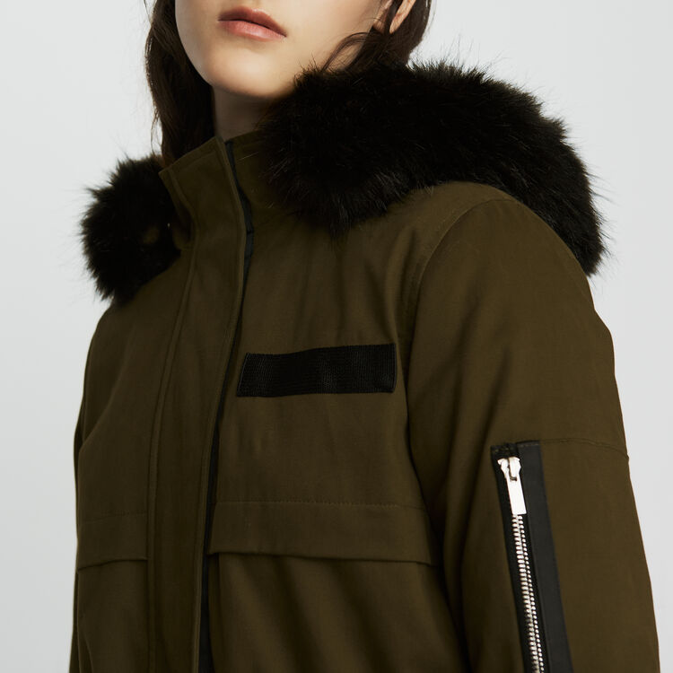 Long parka with hood and faux fur : Coats color Black 210