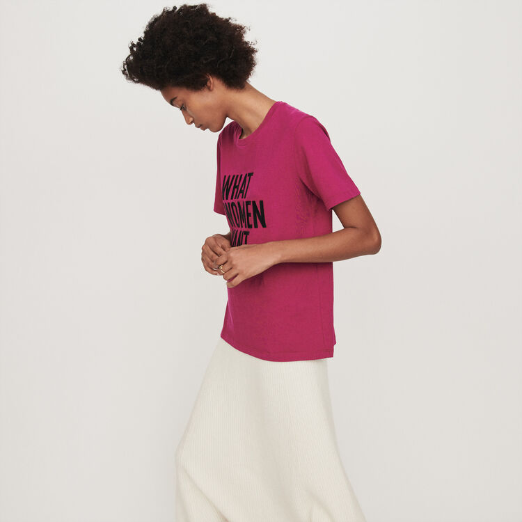 Embroidered t-shirt : T-Shirts color Fuchsia
