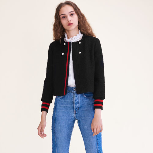 Tweed cropped jacket : Blazers color Black 210