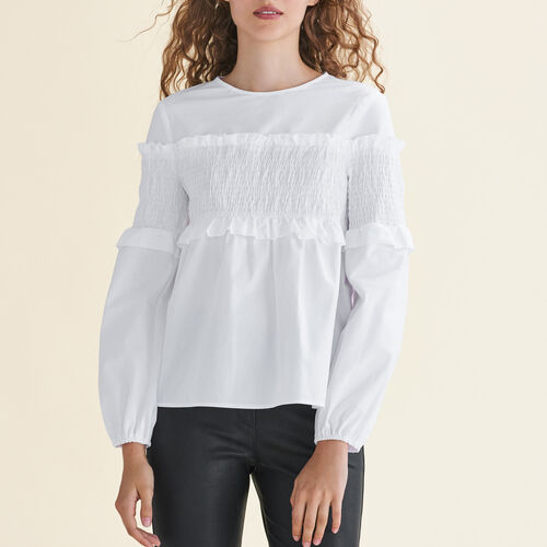 Cotton top with smocking - Tops - MAJE