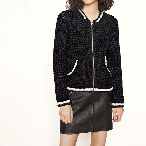 Lurex knit bomber-style cardigan : Sweaters & Cardigans color Black 210