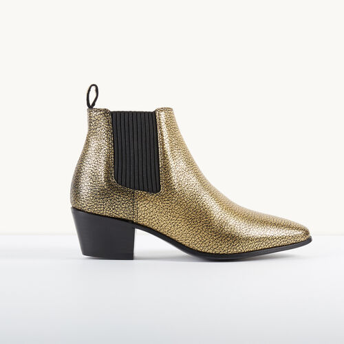 Crackled leather Chelsea ankle boots : Accessories color Gold