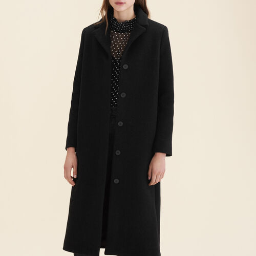 Long wool-blend coat : Coats color Anthracite