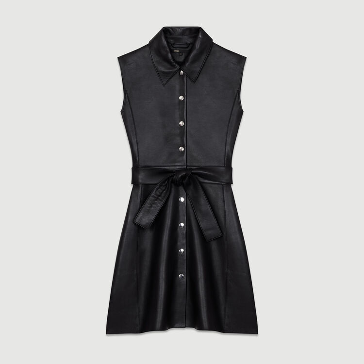 Sleeveless leather shirt dress : Leather color Black 210