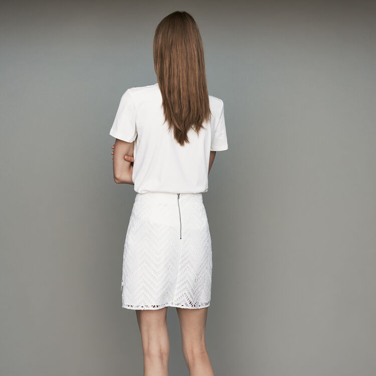Short skirt with lace detailing : Skirts & Shorts color White