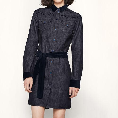 Denim dress with velvet details : Dresses color Denim