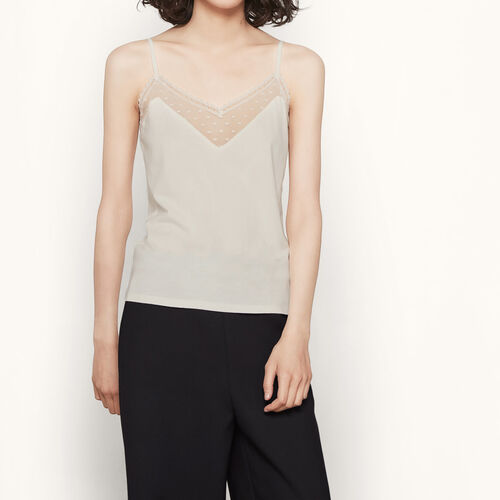 Camisole with dotted Swiss detail : T-shirts color Ecru