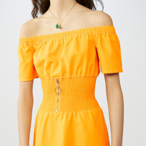 Smocked cold shoulder dress : Dresses color Yellow