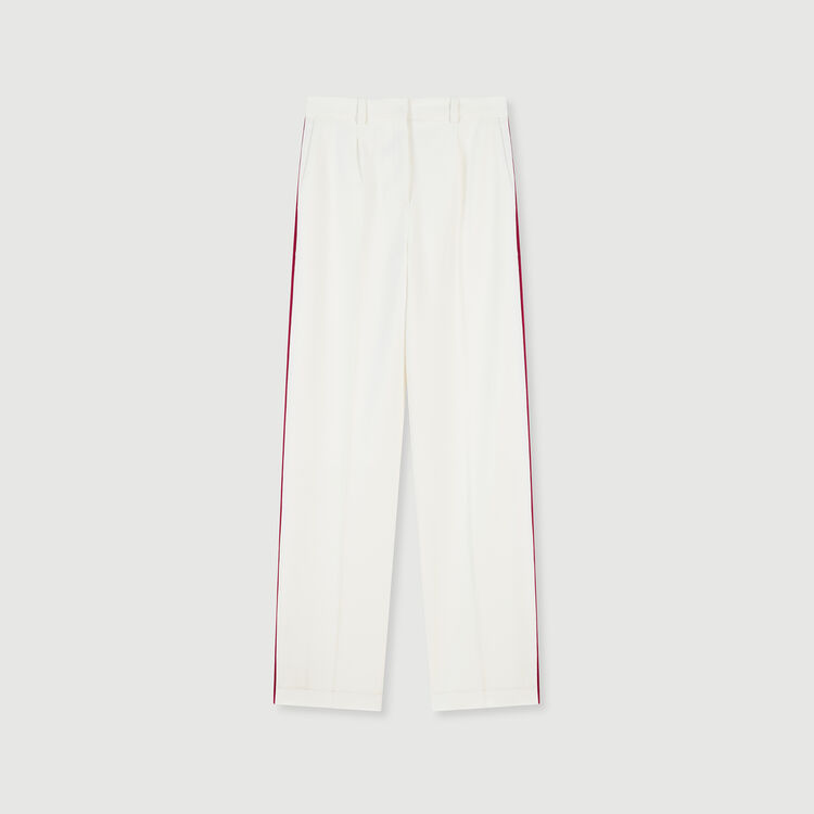 Wide-leg pants with contrasting stripes : Winter collection color Ecru