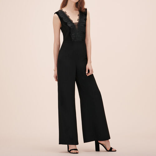 Jumpsuit with embroidery : Trousers & Jeans color Black 210