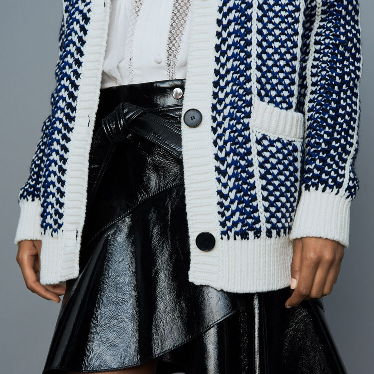 Oversize jacket in jacquard knit : Knitwear color Blue