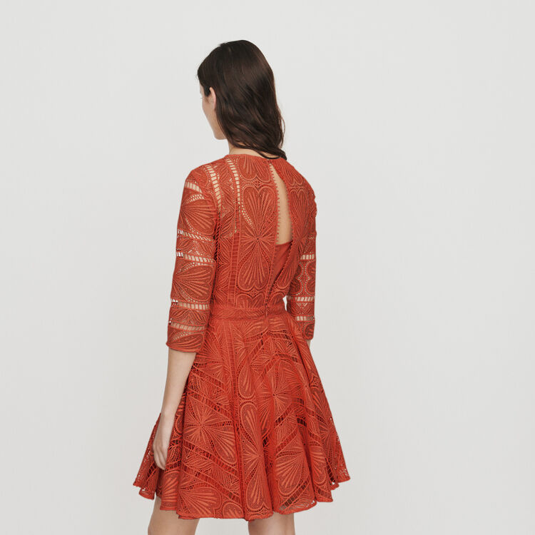 Short dress in guipure : Dresses color Terracota