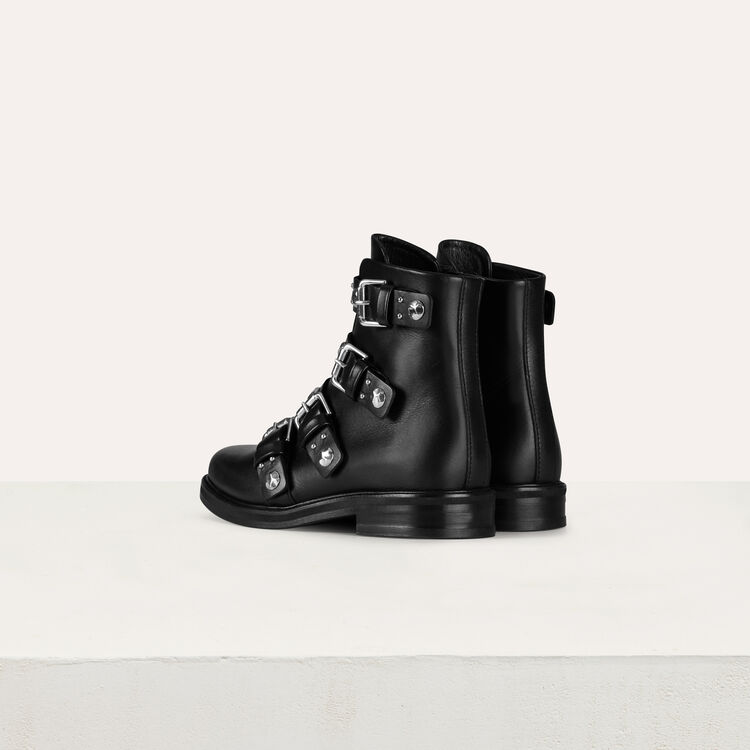 Multi-straps leather booties : Booties & Boots color Black 210