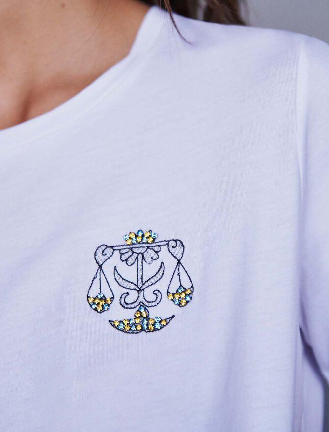 Embroidery and strass cotton t-shirt - T-Shirts - MAJE