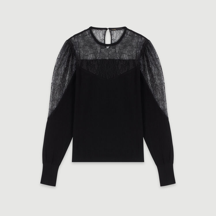 Light knit and lace sweater : Pullovers & Cardigans color Black