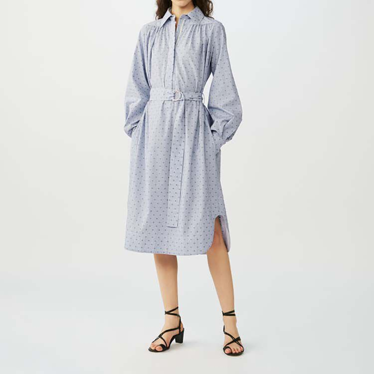 Shirt dress with embroidered stripes : Dresses color Blue