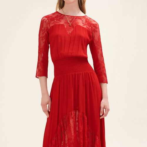 Long lace dress : Dresses color Red