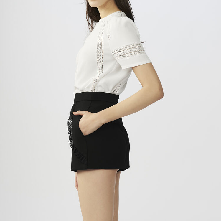 Shorts with lace detail : Skirts & Shorts color Black 210