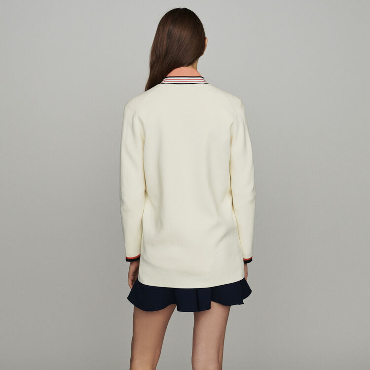 Long block-knit jacket : New in : Summer Collection color ECRU