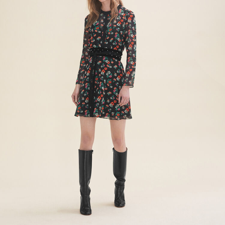 Printed dress with ribbed braid trim : Dresses color Print