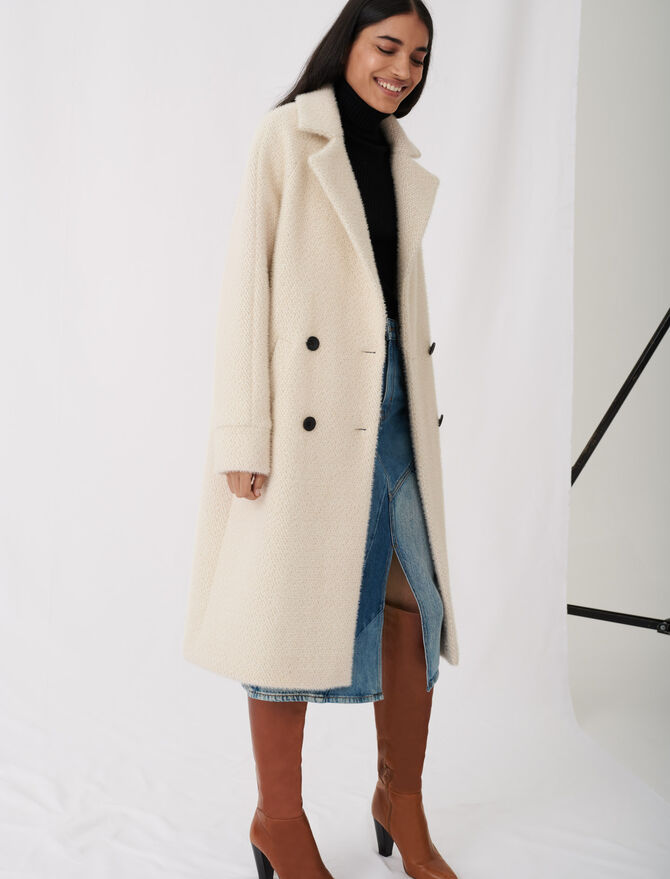Double-breasted tricotine coat - Coats & Jackets - MAJE