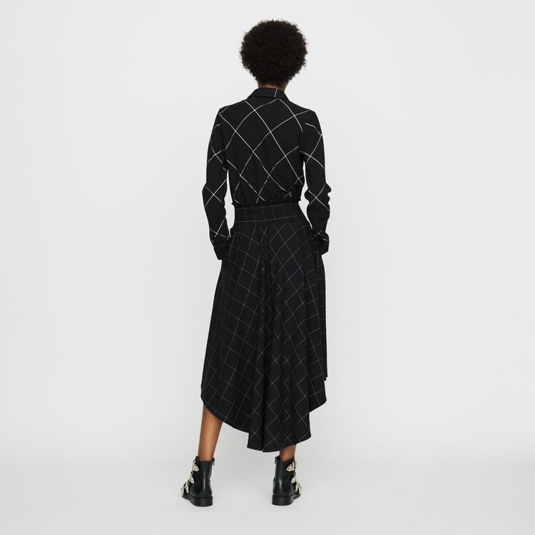 Asymmetric plaid shirt dress : Dresses color CARREAUX