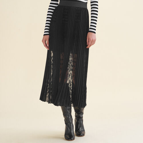 Pleated skirt with lace : See all color Black 210