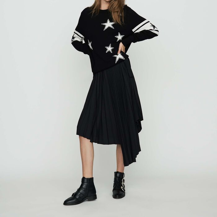 Oversize sweater in bicolor knit : New Collection color Black 210
