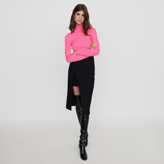 Calf-length split pencil skirt : Skirts & Shorts color Black