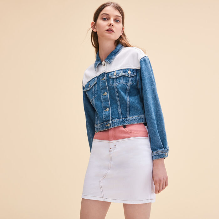 Two-tone denim jacket -  - MAJE