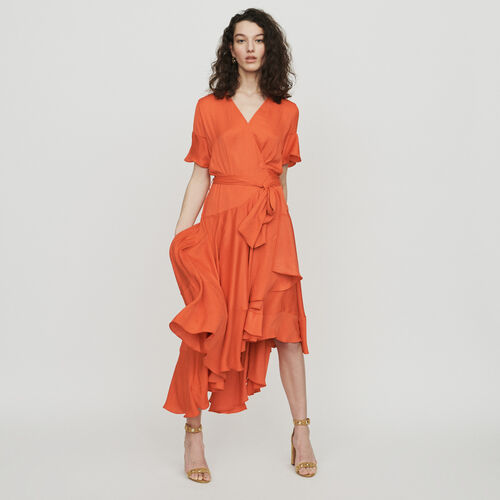 Long dress with ruffles : Dresses color Coral