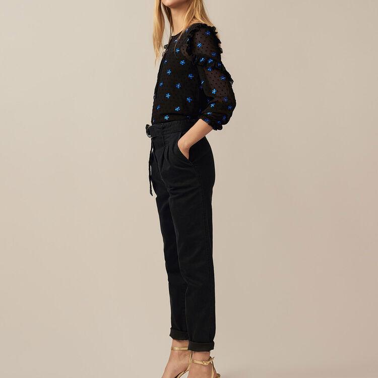 Pleated denim pants : Trousers color Black 210