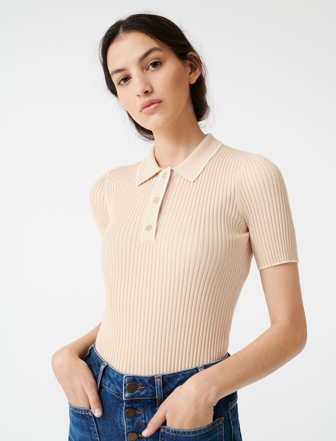 Ribbed polo sweater - Pullovers & Cardigans - MAJE