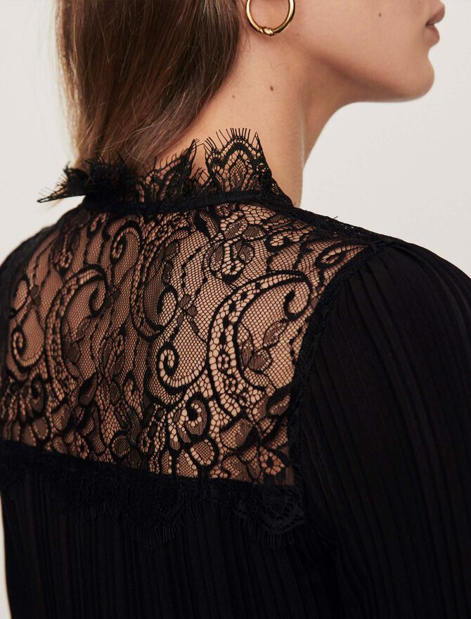Pleated top with lace trim - Tops & Shirts - MAJE