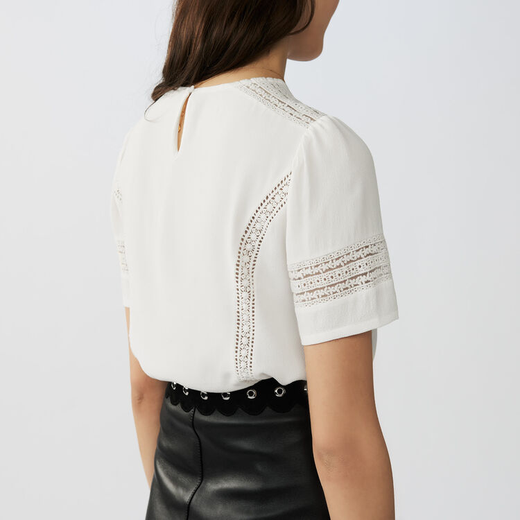 Embroidered ajour stitching top : Tops color Ecru