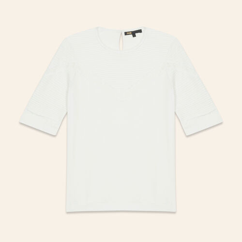 T-shirt with lace trims - T-Shirts - MAJE