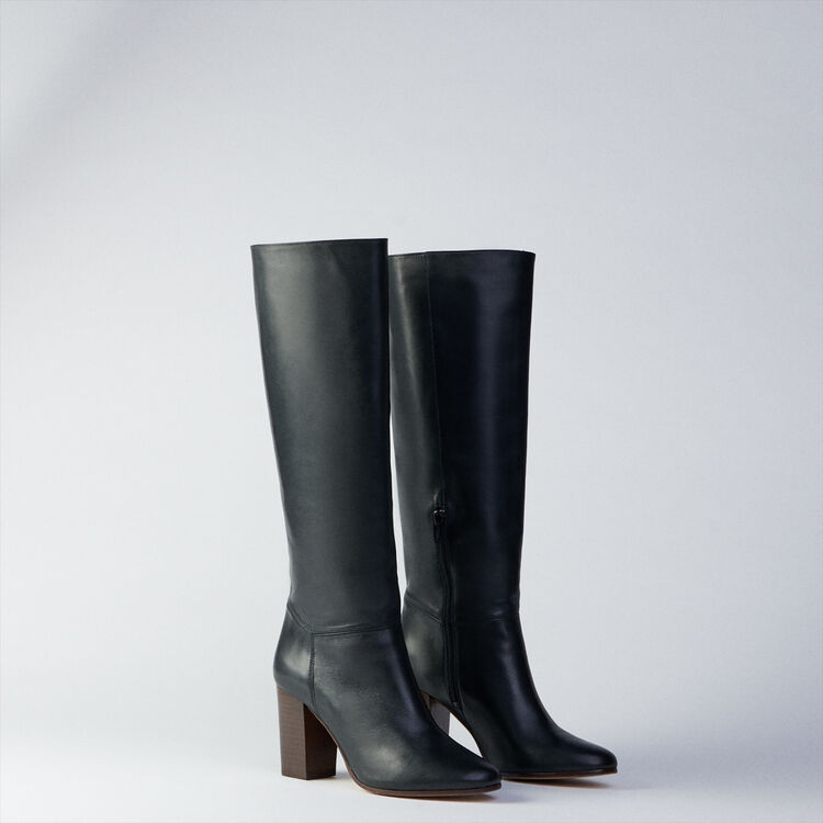 Heeled smooth leather boots : Booties & Boots color Black